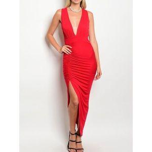 Dresses & Skirts - SCARLET RED SIDE ASYMMETRIC DRESS